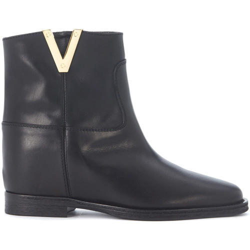 Shoes Women Ankle boots Via Roma 15 Tronchetto in pelle liscia nera Black