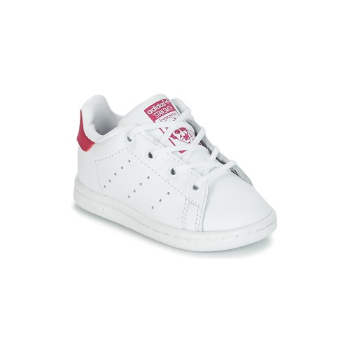 Shoes Girl Low top trainers adidas Originals STAN SMITH I White / Pink