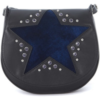 Bags Women Shoulder bags Orciani black tumbled leather shoulder bag with blue velvet star Blue