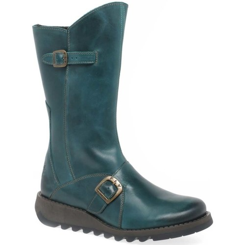 Shoes Women Boots Fly London Mes 2 Womens Leather Calf Wedge Heel Biker Boots green