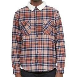 Clothing Men long-sleeved shirts The Idle Man Brushed Check Shirt with Borg Collar Rust Orange