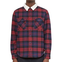 Clothing Men long-sleeved shirts The Idle Man Brushed Check Shirt with Borg Collar Blue & Red Blue