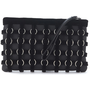 Bags Women Pouches / Clutches Alexander Wang Roxy black leather and velvet pochette Black