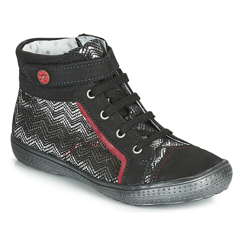 Shoes Girl Hi top trainers Catimini ROSIERE Black / Silver