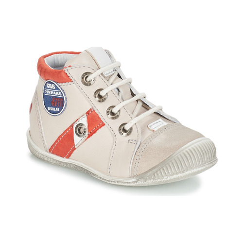 Shoes Boy Mid boots GBB SILVIO Beige / Red