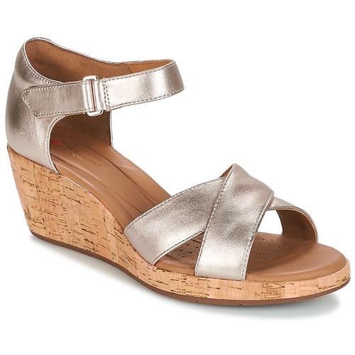 Shoes Women Sandals Clarks UN PLAZA CROSS Gold