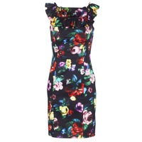 Clothing Women Short Dresses Love Moschino WVG3100 Black / Multicoloured