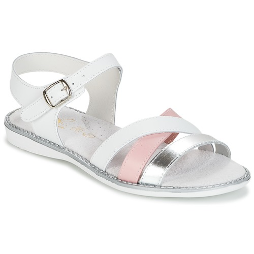 Shoes Girl Sandals Citrouille et Compagnie IZOEGL White / Pink / Silver