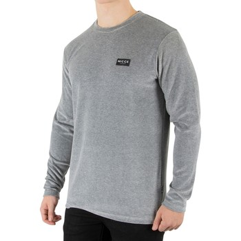 Clothing Men Long sleeved tee-shirts Nicce London Men's Velour Longsleeved T-Shirt, Grey grey