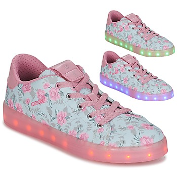 Shoes Girl Low top trainers Geox J KOMMODOR G. B Blue / Pink