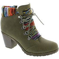 Shoes Women Ankle boots Rieker Ladies High Block Heel Ankle Lace Up Boot Green Combi