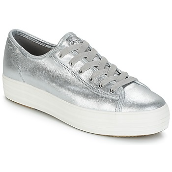 Shoes Women Low top trainers Keds TRIPLE KICK METALLIC SUEDE Silver