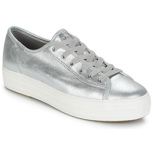 Shoes Women Low top trainers Keds TRIPLE KICK METALLIC SUEDE Silver