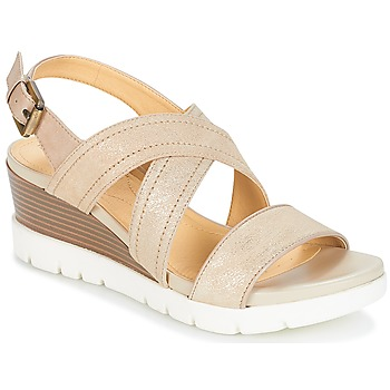 Shoes Women Sandals Geox MARYKARMEN P.B Gold / Beige
