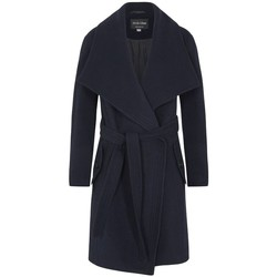 Clothing Women Parkas De La Creme - Navy Blue Women`s Winter Wool Cashmere Wrap Coat with Large C Blue