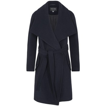 Clothing Women Parkas De La Creme Winter Wool Cashmere Wrap Coat with Large Collar Blue