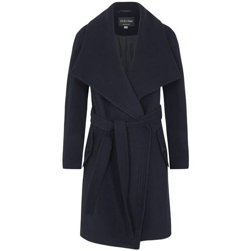 Clothing Women Parkas De La Creme Winter Wool Cashmere Wrap Coat with Large Collar Blue