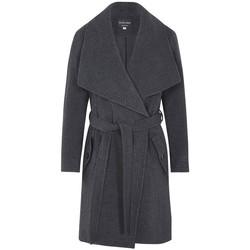Clothing Women Parkas De La Creme - Grey Womens Winter Wool Cashmere Wrap Coat with Large Collar Grey