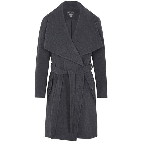 Clothing Women Parkas De La Creme Winter Wool Cashmere Wrap Coat with Large Collar Grey