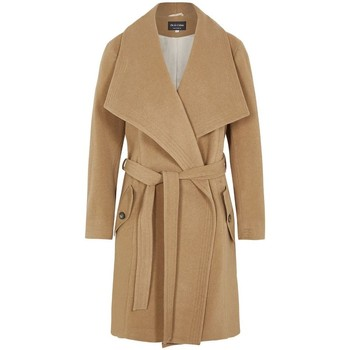 Clothing Women Parkas De La Creme Winter Wool Cashmere Wrap Coat with Large Collar BEIGE