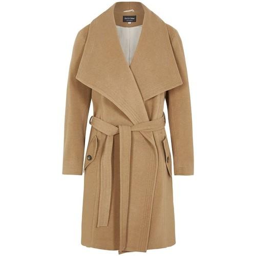 Clothing Women Parkas De La Creme Winter Wool Cashmere Wrap Coat with Large Collar BEIGE