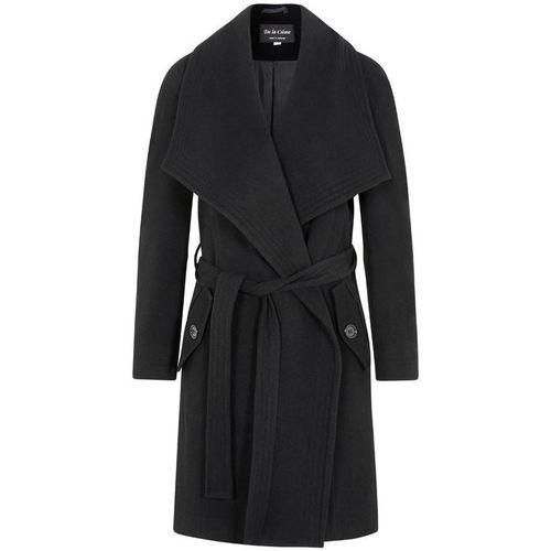 Clothing Women Parkas De La Creme Winter Wool Cashmere Wrap Coat with Large Collar Black