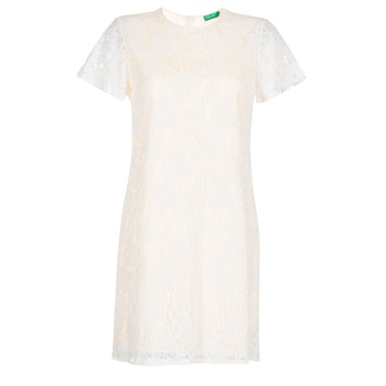 Clothing Women Short Dresses Benetton PRISTOUC White