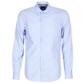 Clothing Men long-sleeved shirts Sisley KELAPSET Blue / Clear