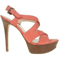 Shoes Women Heels Guess Danten Sandalo Sandal Nubuck Red