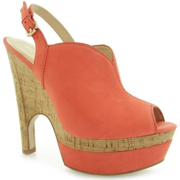 Shoes Women Heels Guess Jordane Zeppa Wedge Nubuck Red