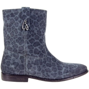 Shoes Women Ankle boots Guess Vivan Printed Suede Bootie Blue