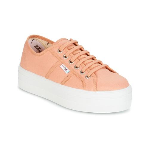 Shoes Women Low top trainers Victoria BLUCHER LONA PLATAFORMA Pink / Beige