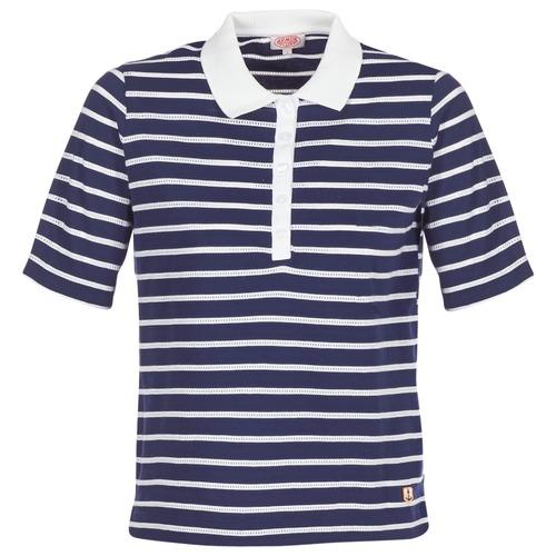 Clothing Women short-sleeved polo shirts Armor Lux POLAED Marine / White