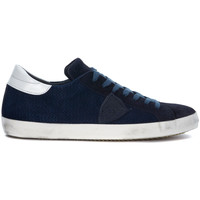 Shoes Men Low top trainers Philippe Model Paris Classic blue pierced sneaker Blue
