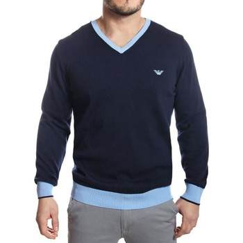 Clothing Men jumpers Armani - Men's V-Neck Cotton Jumper bleu