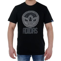 Clothing Men short-sleeved t-shirts adidas Originals Cir Trefoil Tee Black