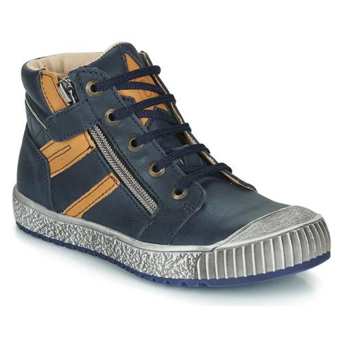 Shoes Boy Hi top trainers Catimini RAMBOUTAN Marine / Ocre tan