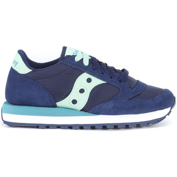 Shoes Women Trainers Saucony Jazz blue washed suede and nylon sneaker Blue