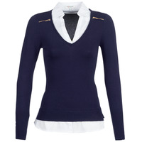 Clothing Women jumpers Morgan MYLORD Marine / White