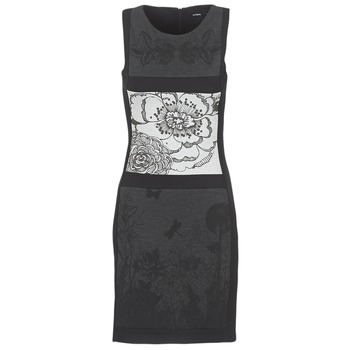 Clothing Women Short Dresses Desigual POARTI Black / Grey