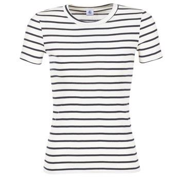 Clothing Women short-sleeved t-shirts Petit Bateau  White / MARINE