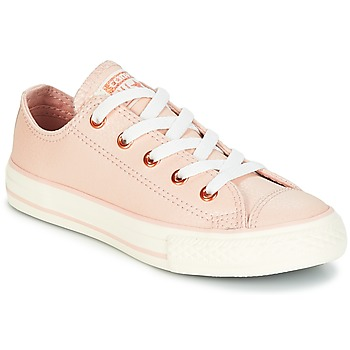 Shoes Girl Low top trainers Converse Chuck Taylor All Star Ox Fashion Leather Orange / Clear