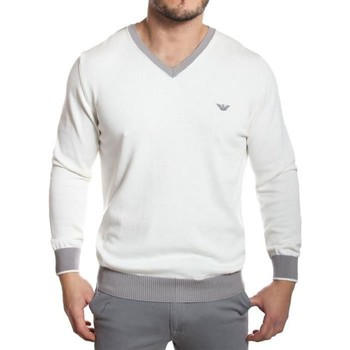 Clothing Men jumpers Armani - Men's V-Neck Cotton Jumper blanc