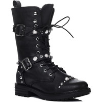 Shoes Women High boots Spylovebuy GRETCHEN Lace Up Buckle Studded Flat Biker Boots - Black Leathe Black