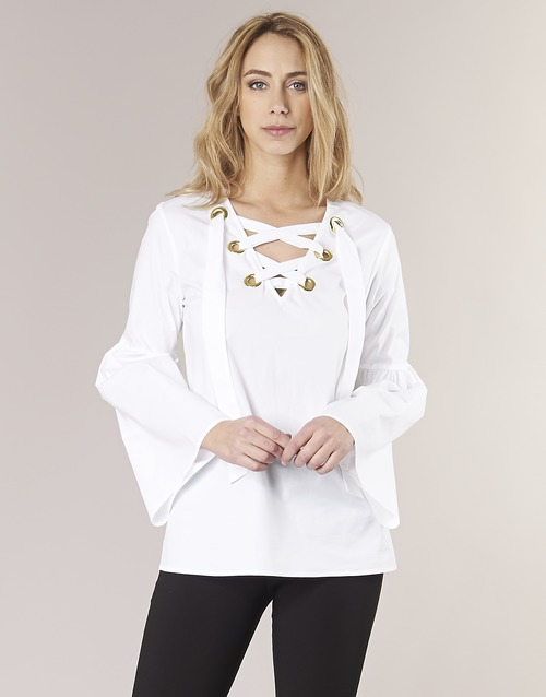 Clothing Women Tops / Blouses MICHAEL Michael Kors POPLIN GRMT LCE UP T. White
