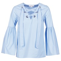 Clothing Women Tops / Blouses MICHAEL Michael Kors POPLIN GRMT LCE UP T. Blue / Sky