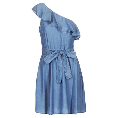 Clothing Women Short Dresses MICHAEL Michael Kors ONE SHLDR RUFFLE DRS Denim
