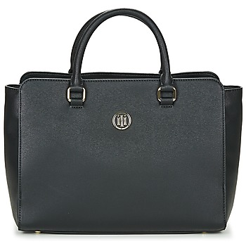 Bags Women Handbags Tommy Hilfiger TH SIGNATURE STRAP SATCHEL Black