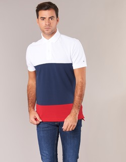 Clothing Men short-sleeved polo shirts Tommy Hilfiger WCC-CALEB-COLOURBLOCK-POLO-S/S-RF White / Blue / Red