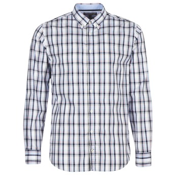 Clothing Men Long-sleeved shirts Tommy Hilfiger SUNLAND-CHK-RF3 White / Blue